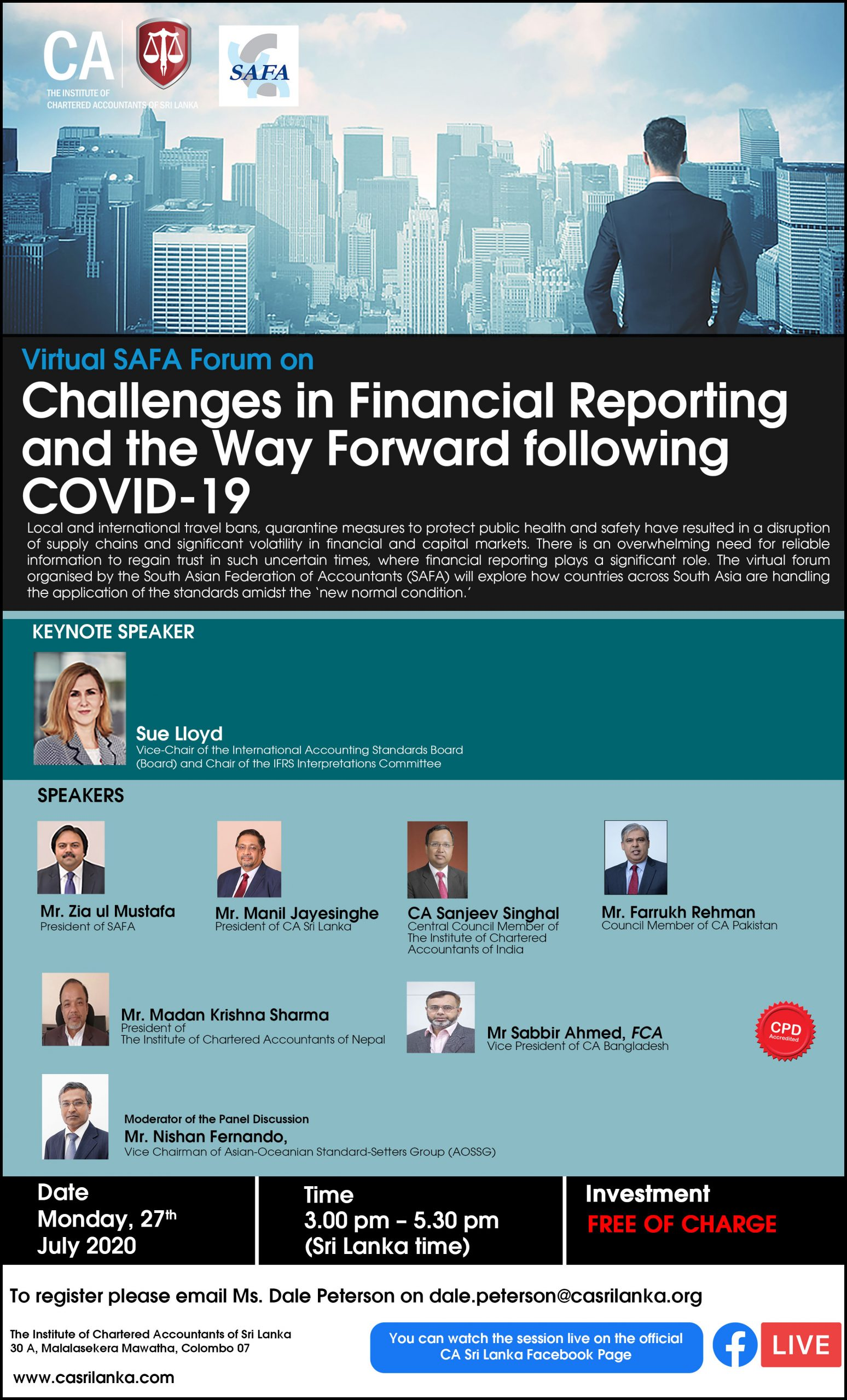 """SAFA Forum on """"  Challenges in Financial Reporting and Way Forward with COVID 19 Outbreak"""""""